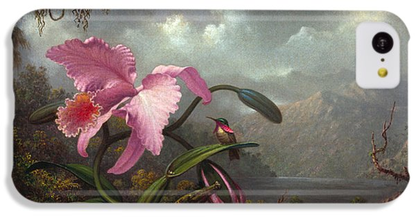 Orchid iPhone 5c Case - Orchid And Hummingbir by Martin Johnson Heade
