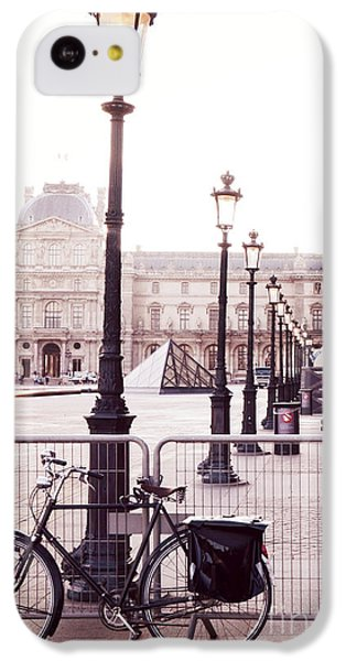Louvre iPhone 5c Case - Paris Bicycle Louvre Museum - Paris Bicycle Street Lantern - Paris Bicycle Louvre Museum Street Lamp by Kathy Fornal