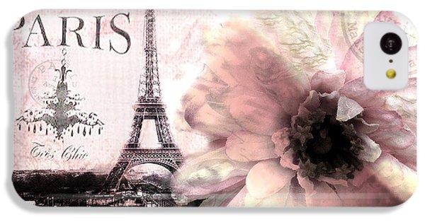 Paris Eiffel Tower Montage - Paris Romantic Pink Sepia Eiffel Tower Flower French Cottage Decor  IPhone 5c Case