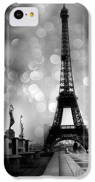 Paris Eiffel Tower Surreal Black And White Photography - Eiffel Tower Bokeh Surreal Fantasy Night  IPhone 5c Case by Kathy Fornal