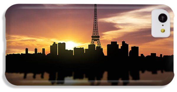 Paris France Sunset Skyline  IPhone 5c Case by Aged Pixel