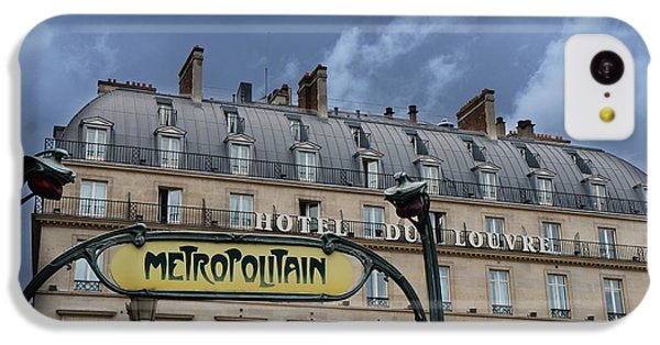 Paris Metropolitain Sign At The Paris Hotel Du Louvre Metropolitain Sign Art Noueveau Art Deco IPhone 5c Case by Kathy Fornal
