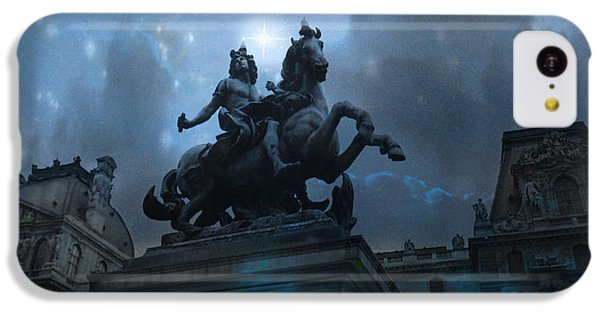 Paris Louvre Museum Blue Starry Night - King Louis Xiv Monument At Louvre Museum IPhone 5c Case by Kathy Fornal