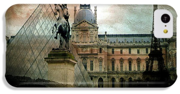 Paris Louvre Museum Pyramid Architecture - Eiffel Tower Photo Montage Of Paris Landmarks IPhone 5c Case by Kathy Fornal