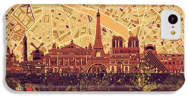 Louvre iPhone 5c Case - Paris Skyline Abstract Sepia by Bekim Art
