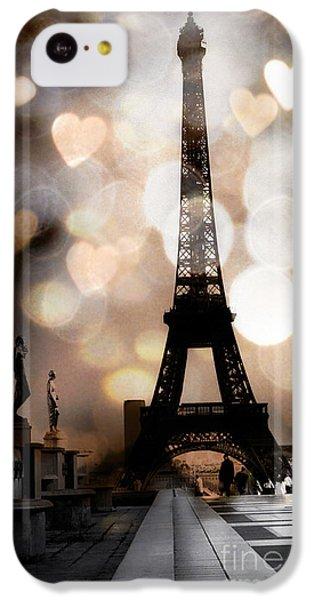 Paris Surreal Fantasy Sepia Black Eiffel Tower Bokeh Hearts And Circles - Paris Eiffel Tower Hearts  IPhone 5c Case