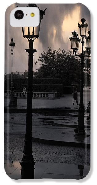 Paris Surreal Louvre Museum Street Lanterns Lamps - Paris Gothic Street Lamps Black Clouds IPhone 5c Case by Kathy Fornal