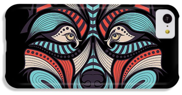 T Shirts iPhone 5c Case - Patterned Colored Head Of The Wolf by Sunny Whale