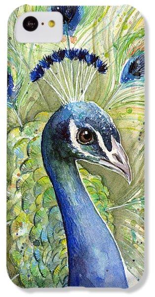 Peacock iPhone 5c Case - Peacock Watercolor Portrait by Olga Shvartsur