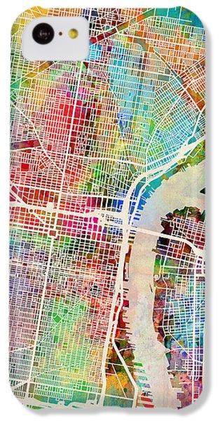 Philadelphia iPhone 5c Case - Philadelphia Pennsylvania Street Map by Michael Tompsett