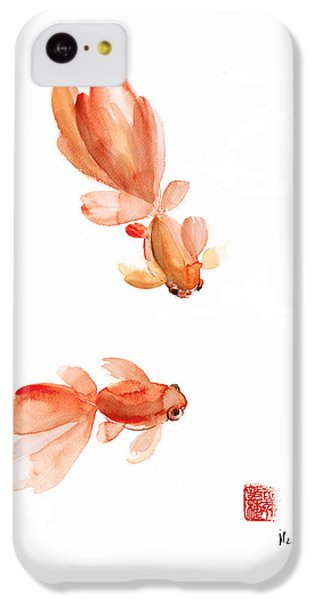 Pisces Zodiac Fishes Orange Red  Pink Fish Water Goldfish Watercolor Painting IPhone 5c Case by Johana Szmerdt