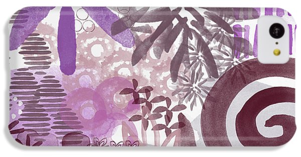 Plum And Grey Garden- Abstract Flower Painting IPhone 5c Case by Linda Woods