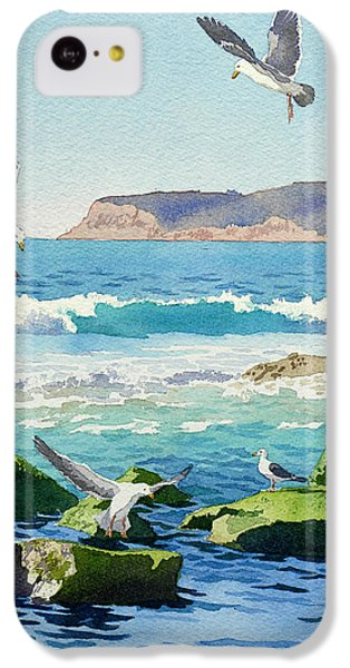 Seagull iPhone 5c Case - Point Loma Rocks Waves And Seagulls by Mary Helmreich