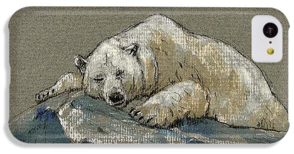 Polar Bear iPhone 5c Case - Polar Bear Sleeping by Juan  Bosco