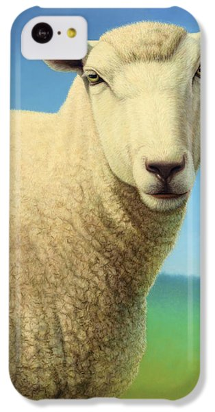 Sheep iPhone 5c Case - Portrait Of A Sheep by James W Johnson