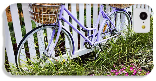 Bicycle iPhone 5c Case - Purple Bicycle And Flowers by David Smith
