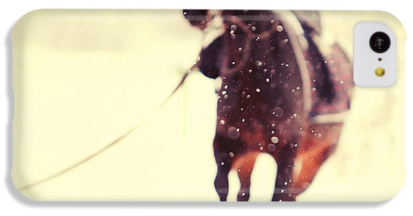 Horse iPhone 5c Case - Race In The Snow by Jenny Rainbow