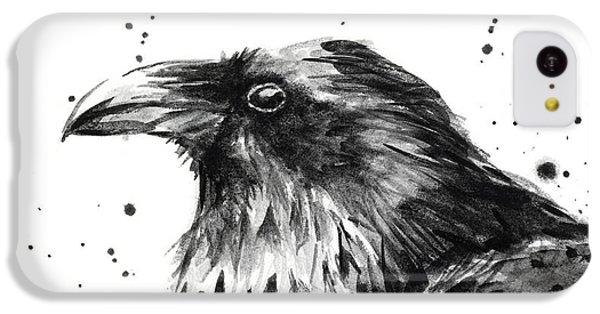 Raven iPhone 5c Case - Raven Watercolor Portrait by Olga Shvartsur