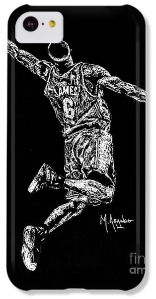 Lebron James iPhone 5c Case - Reaching For Greatness #6 by Maria Arango
