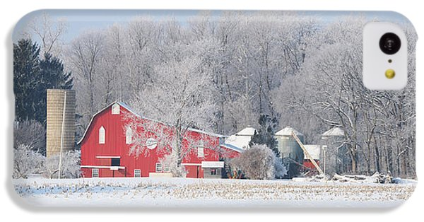 Whitehouse iPhone 5c Case - Red Barn Frosty Morning Panorama1 by Jack Schultz