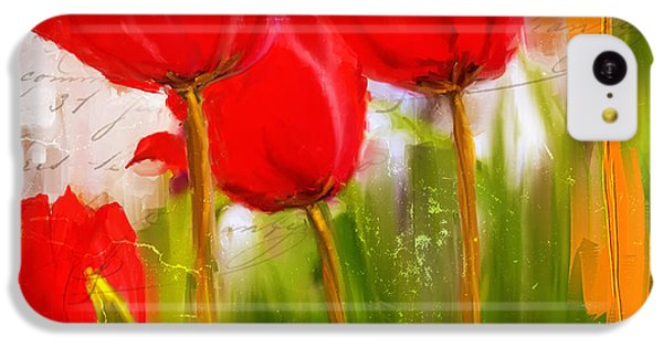 Red Enigma- Red Tulips Paintings IPhone 5c Case by Lourry Legarde