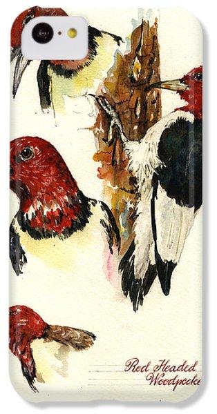 Red Headed Woodpecker Bird IPhone 5c Case by Juan  Bosco