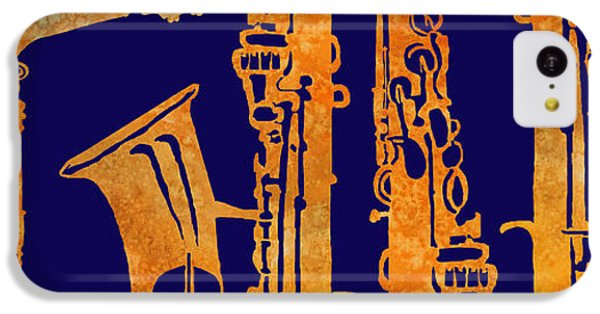 Saxophone iPhone 5c Case - Red Hot Sax Keys by Jenny Armitage