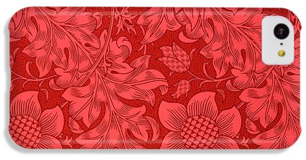 Red Sunflower Wallpaper Design, 1879 IPhone 5c Case by William Morris