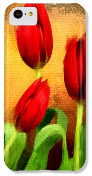 Red Tulips Triptych Section 2 IPhone 5c Case by Lourry Legarde