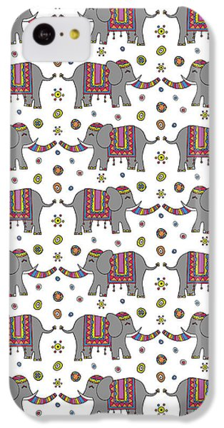 Repeat Print - Indian Elephant IPhone 5c Case by Susan Claire