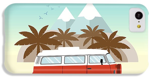 T Shirts iPhone 5c Case - Retro Minivan With Palm Trees And by Yurgo