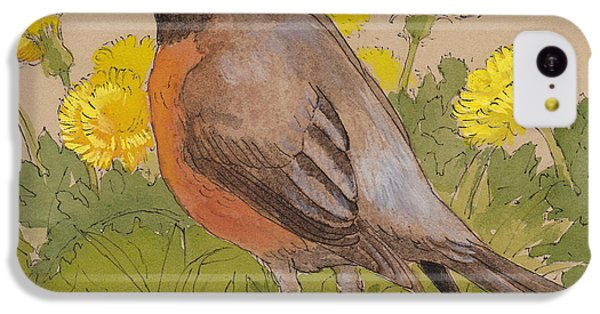 Robin In The Dandelions IPhone 5c Case by Tracie Thompson