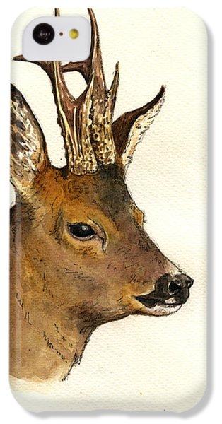 Deer iPhone 5c Case - Roe Deer Head Study by Juan  Bosco