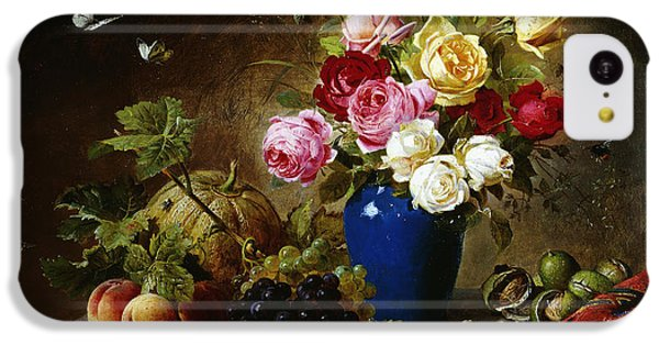 Roses In A Vase Peaches Nuts And A Melon On A Marbled Ledge IPhone 5c Case by Olaf August Hermansen