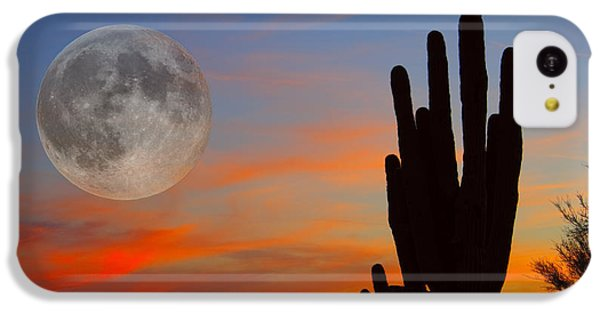 Saguaro Full Moon Sunset IPhone 5c Case