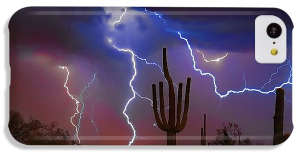 Saguaro Lightning Nature Fine Art Photograph IPhone 5c Case