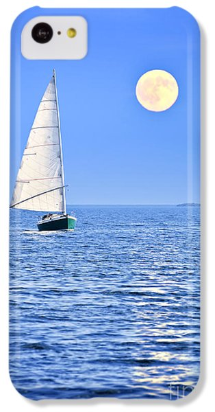 Boat iPhone 5c Case - Sailboat At Full Moon by Elena Elisseeva