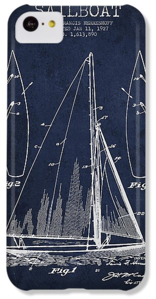Boat iPhone 5c Case - Sailboat Patent Drawing From 1927 by Aged Pixel