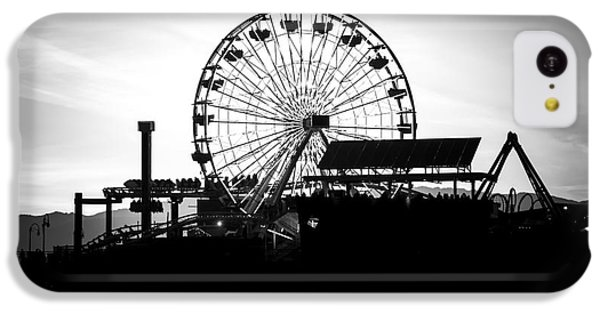 Santa Monica Ferris Wheel Black And White Photo IPhone 5c Case by Paul Velgos