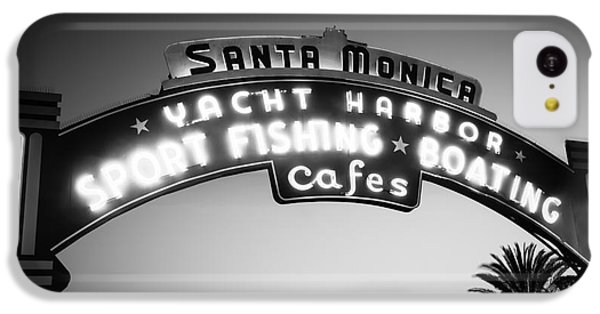 Santa Monica Pier Sign In Black And White IPhone 5c Case by Paul Velgos