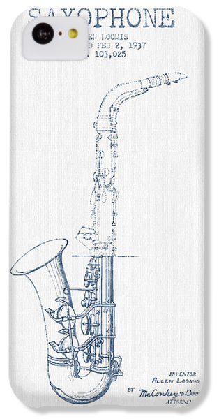 Saxophone Patent Drawing From 1937 - Blue Ink IPhone 5c Case by Aged Pixel
