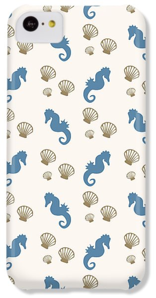 Seahorse And Shells Pattern IPhone 5c Case by Christina Rollo