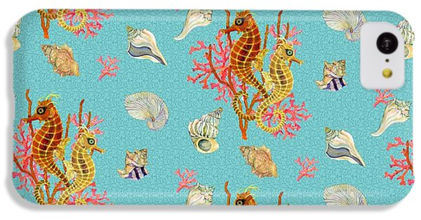Seahorses Coral And Shells IPhone 5c Case by Kimberly McSparran