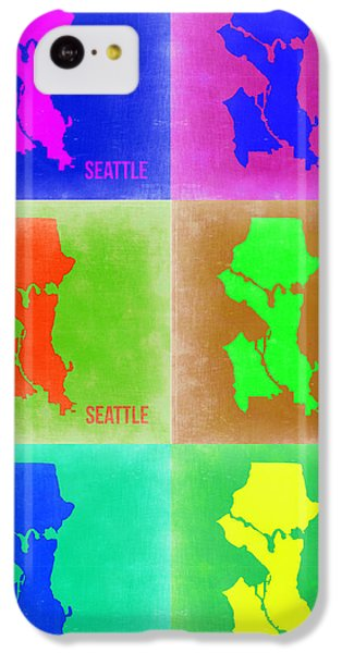 Seattle iPhone 5c Case - Seattle Pop Art Map 3 by Naxart Studio
