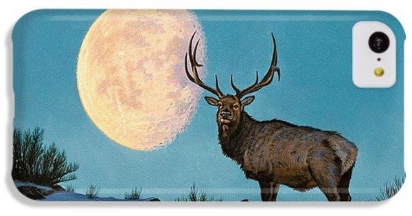 Bull iPhone 5c Case - Setting Moon And Elk by Paul Krapf