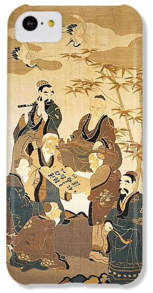 Stork iPhone 5c Case - Seven Wise Men In The Bamboo Forest Painted Silk by Japanese School