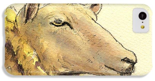 Sheep iPhone 5c Case - Sheep Head Study by Juan  Bosco