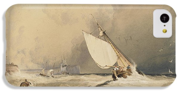 Ships At Sea Off Folkestone Harbour Storm Approaching IPhone 5c Case by Anthony Vandyke Copley Fielding