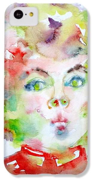 Shirley Temple iPhone 5c Case - Shirley Temple - Watercolor Portrait.2 by Fabrizio Cassetta