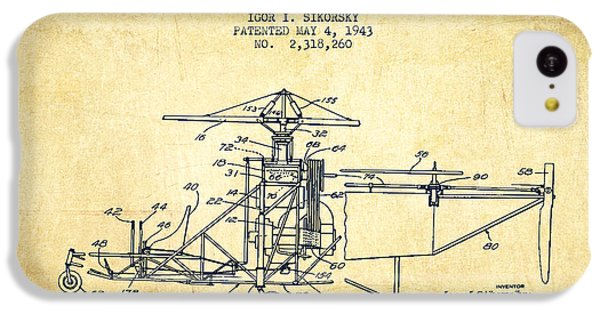 Sikorsky Helicopter Patent Drawing From 1943-vintage IPhone 5c Case by Aged Pixel